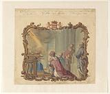 King Solomon in prayer to God (Kings I, v. 8).