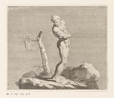 Naked man, possibly Pan, near a tree stump with pan flute
