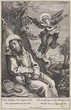 Saint Francis comforted by an angel making music