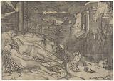 Landscape with two naked sleeping women and fantasy animals on a bank near water with burning building