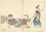 Two lucky gods and a temple dancer