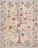 Sitsen bedspread with white ground with large serpentine trunk with medium sized flowers