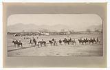 British Army unit on horseback near an Afghan camp