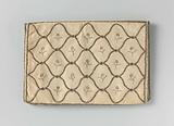 Letter bag in a flat, rectangular shape, of ecru-coloured silk embroidered with evenly winding strips, inside which a …