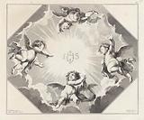 Four angels around the monogram of Christ