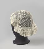 Frisian lace ball hat in fine knitting, trimmed with a strip of tulle decorated with tuck-through