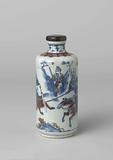 Cylindrical bottle vase with warriors