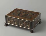 Marquetry chest with a double eagle and a monogram on the lid within an oval frame