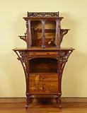 Display case with marquetry in floral motifs