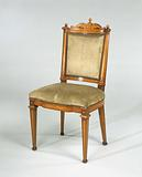 Chair made of elm wood, with the exception of the back fully decorated with marquetry