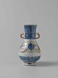 Pear-shaped vase with ornamental borders and landscapes in medallions
