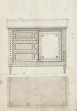Design for a chest of drawers, with alternative with doors