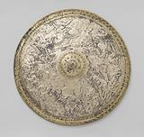 Galvanoplastic reproduction of a shield with a Roman battle scene and two monograms