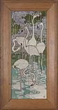 Tile panel, painted with flamingos in a water landscape with irises
