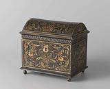 Chest, painted with arabesques, a dolphin and the initials MO and VP