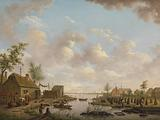 Landscape with Fishermen and Farmers Extracting Peat in a Marsh