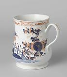 Cup with handle, slightly used model, decorated with a Japanese garden