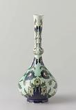 Vase with pear-shaped body with nodus, painted with flowering plants