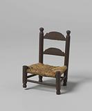 Knob chair, the backrest with two transverse rails, the seat of braided piping