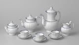 Coffee and tea set, sixteen parts, white, with blue piping and pear-shaped lids