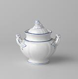 Sugar bowl with lid, white, with blue piping and pear-shaped lid knob