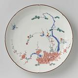 Lobed dish with brushwood fences, birds and the 'three friends'
