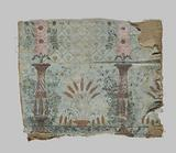 Fragment of painted wallpaper with columns, flowers and a basket of ears of corn