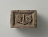 Fireplace stone with two coats of arms, between which the Liège perron