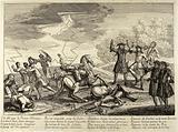 On this que le Prince d'Orange, the Prince of Orange on horseback, struck by lightning