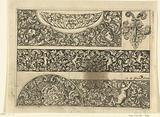 Three strips with tendrils, masks and putti