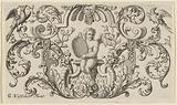 Putto with round plate in the hands amidst leaf tendrils