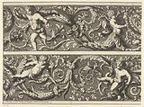 Two friezes with acanthus tendrils and putti
