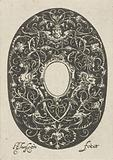 Oval with stylized tendrils and an empty compartment in the center