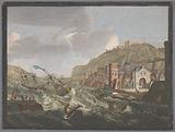 View of a southern harbor with ships and boats on the raging water