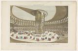 View of the interior of the Rotunda in Ranelagh Gardens in London with a group having a meal