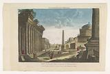 View of the ruins of the Column of Trajan, the Arch of Constantine and other monuments in Rome