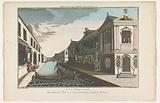 View of a street on a canal in Leiden