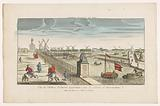 View of the Hogesluis to the Buiten-Amstel, the Amsteldijk and the windmills at the Zaagmolensloot in Amsterdam
