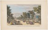 View of an avenue with a triumphal arch in Vauxhall Gardens in London