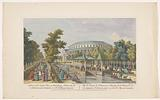 View of the Rotunda and the Chinese pavilion on the canal in Ranelagh Gardens in London with a masked ball