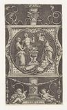 Square plate with an allegorical representation