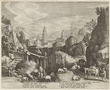 Rocky landscape with the fable of the donkey and the wild boar