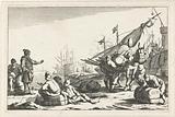 Harbor with merchants and beast of burden