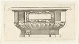 Chest, decorated with an empty cartridge in a frame of scrollwork