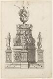 Round funeral monument with bas-relief