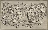 Two stylized acanthus leaves