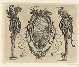 Oval cartouche with a landscape in a scrollwork frame