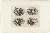Four horizontal ovals with putti on sea creatures