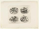 Four horizontal ovals with putti