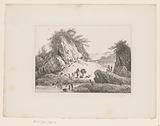 Rocky landscape with a traveler and his beast of burden